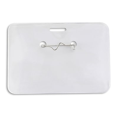 IDville 134116531 Horizontal Credit Card Size Badge Holders with Pin, Clear, 50/Pack