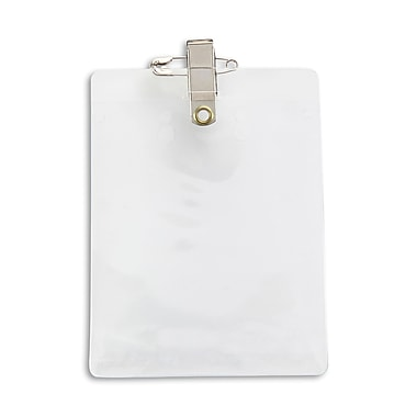 IDville 134523031 Vertical Event Badge Holders with Pin/Clip, Clear, 50/Pack