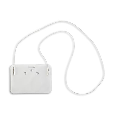 134391831 Horizontal Credit Card Size Badge Holders with Cord, Clear, 50/Pack