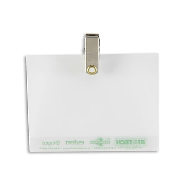 134665031 Biodegradable Badge Holders with Clip, Clear, 50/Pack