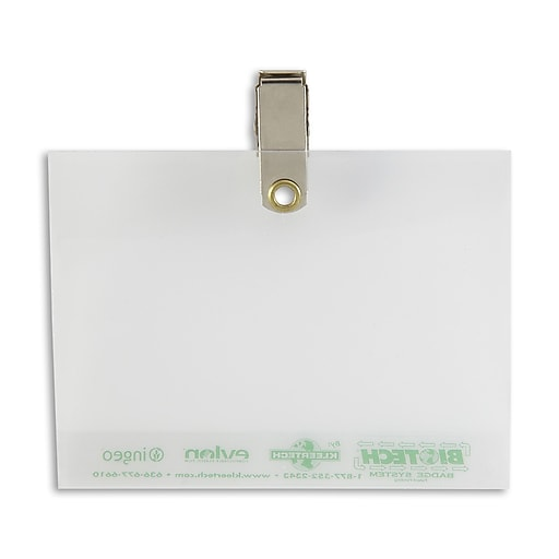 134665231 Badge Holders with Pin/Clip, Clear, 50/Pack