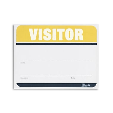 1341017YL31 Adhesive Fill in the Blank Visitor Labels, Yellow, 100/Pack