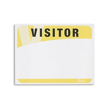 1341013YL31 Blank Adhesive Visitor Labels, Yellow, 100/Pack