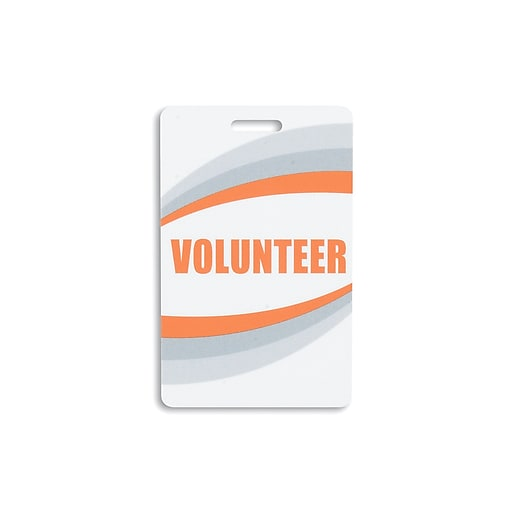 134750231 Volunteer Pre-Printed ID Cards, Orange, 25/Pack