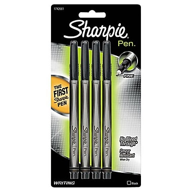 Sharpie® Pen, Fine Point, Black, 4/pk (1742661)