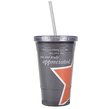 Baudville® Twist Top Tumbler With Straw, You Are Truly Appreciated