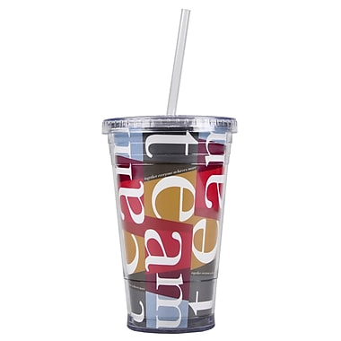 Baudville® Twist Top Tumbler With Straw, TEAM