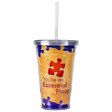 Baudville® Twist Top Tumbler With Straw, Essential Piece