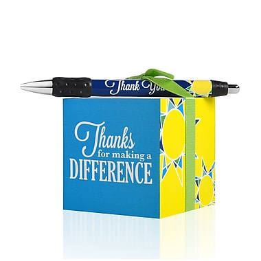 Baudville® Sticky Note Cube With Pen Set, Thanks for Making a Difference