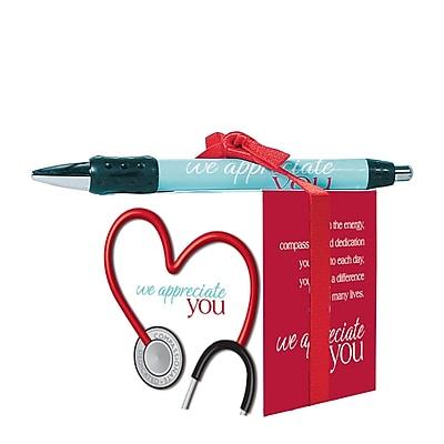 Baudville® Sticky Note Cube W/ Pen Set, Stethoscope We Appreciate You