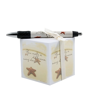 Baudville® Sticky Note Cube With Pen Set, Starfish Making the Difference