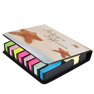 Baudville® Full-Color Flip Top Sticky Note Holder With Calendar, Starfish: Making a Difference