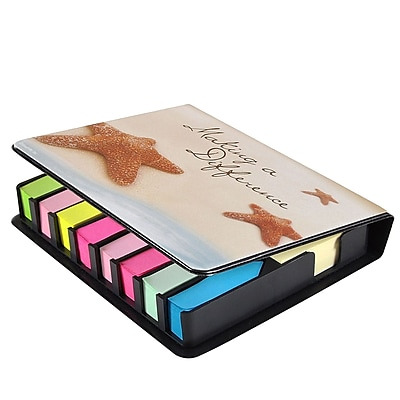Baudville® Full-Color Flip Top Sticky Note Holder W/ Calendar, Starfish: Making a Difference