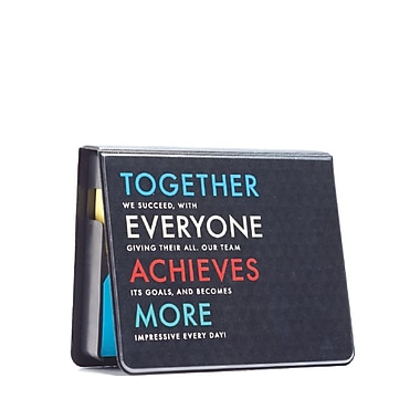 Baudville® Full-Color Flip Top Sticky Note Holder With Calendar, T.E.A.M