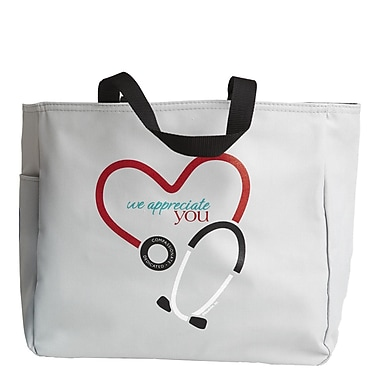 Baudville® Light Grey Tote Bag, Stethoscope We Appreciate You
