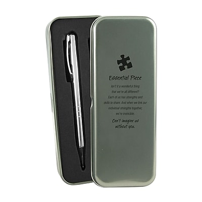 Baudville® Silver Pen and Pencil Gift Set W/ Tin, Essential Piece