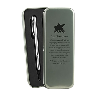 Baudville® Silver Pen and Pencil Gift Set With Tin, Star Performer