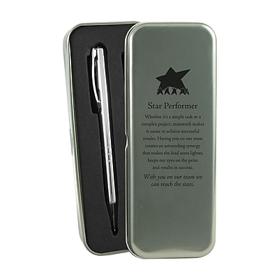 Baudville® Silver Pen and Pencil Gift Set W/ Tin, Star Performer