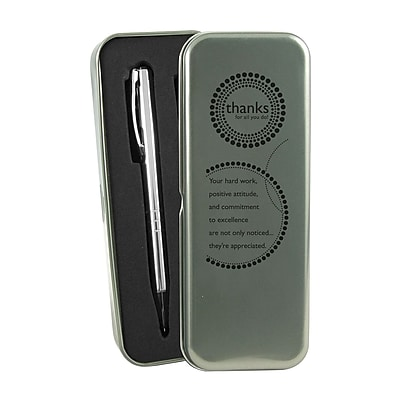 Baudville® Silver Pen and Pencil Gift Set W/ Tin, Thanks for All You Do!