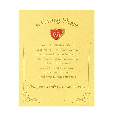 Semi Cloisonne Character Pin With Card, Heart: A Caring Heart