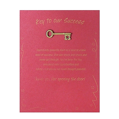Antiqued Brass Character Pin With Card, Key to Our Success