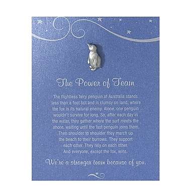Baudville® Pewter Character Pin With Card, Penguin: the Power of Team - Blue Card
