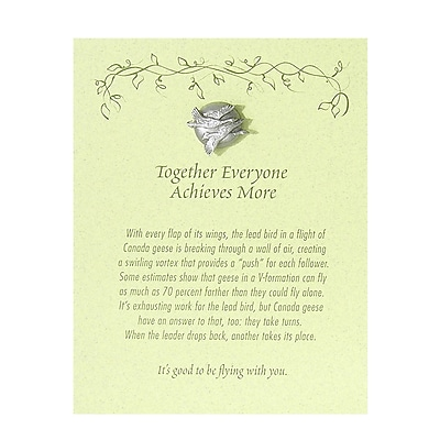 Baudville® Character Pin W/ Card, Geese Together Everyone Achieves More