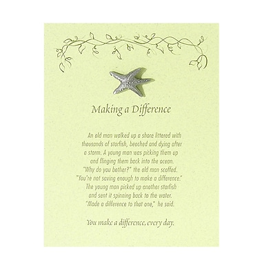 Baudville® Pewter Character Pin With Card, Starfish: Making a Difference - Green Card