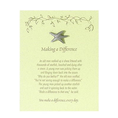 Pewter Character Pin With Card, Starfish: Making a Difference - Green Card