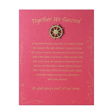 Antiqued Brass Character Pin With Card, Ship's Wheel Together We Succeed