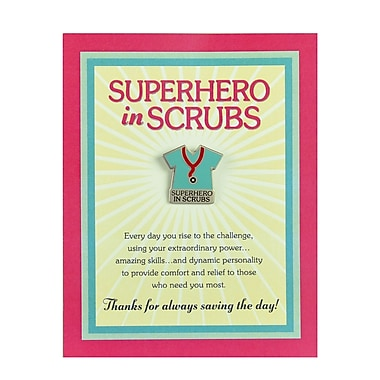Baudville® Character Pin With Card, Superhero in Scrubs