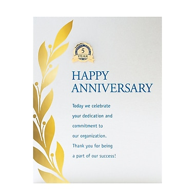 Bright Silver Metal Character Pin With Card, Happy Anniversary - 05