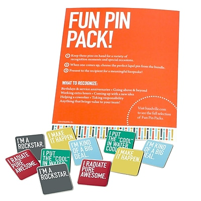 Fun Pin Pack Exclamations, Bright Silver Metal