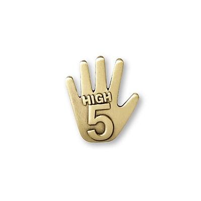 Baudville® Lapel Pin, High 5 Gold