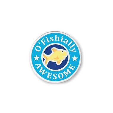 Nickel Plated Metal Lapel Pin, O'fishally Awesome