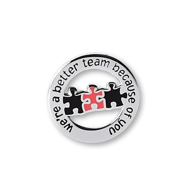 Nickel-Plated Metal Lapel Pin, Better Team Round