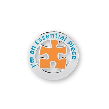 Baudville® Nickel-Plated Metal Lapel Pin, I'm an Essential Piece Round