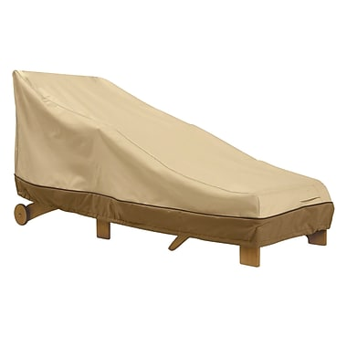 Classic® Accessories Veranda Woven Polyester Fabric Medium Patio Chaise Cover, Pebble/Bark/Earth