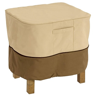 Classic® Accessories Veranda Polyester Medium Rectangular Ottoman/Table Cover, Pebble/Bark/Earth