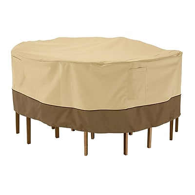 Classic® Accessories Veranda Woven Polyester Fabric Small Table & Chair Set Cover, Pebble/Bark/Earth