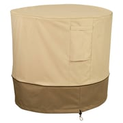"Classic® Accessories Veranda Woven Polyester Fabric 34""(D)Round AC Cover, Pebble/Bark/Earth"