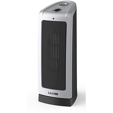 Lasko® 5307 1500 W Oscillating Ceramic Tower Heater, Silver