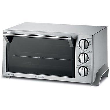 Delonghi 1400 W Stainless Steel 6-Slice Convection Toaster Oven, Silver