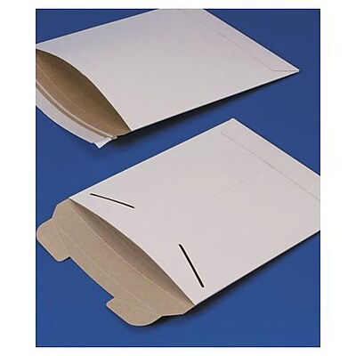 "Bags & Bows® 9"" x 11 1/2"" Fiberboard Self-Seal Shipping Mailer, White, 100/Pack"