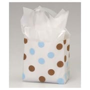 "6 1/2"" x 3 1/2"" x 6 1/2"" Dots Frosted Flex Loop Shoppers, Brown and Blue on Clear"