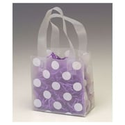 """Bags & Bows® 6 1/2"""" x 3 1/2"""" x 6 1/2"""" Dots Frosted Flex Loop Shoppers, White on Clear, 100/Pack"""