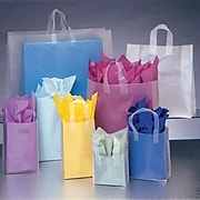 Bags & Bows® Frosted High Density Shoppers, Clear, 100/Pack