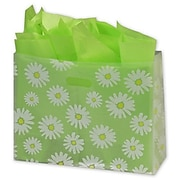 """Bags & Bows® 16"""" x 6"""" x 12"""" Daisy Die Cut Frosted Shoppers, Clear, 100/Pack"""