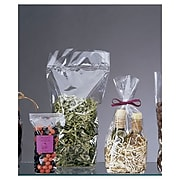 "Bags & Bows® 2 5/8"" x 1 7/8"" x 10 1/4"" Hard Bottom Polypropylene Bags, Clear, 100/Pack"