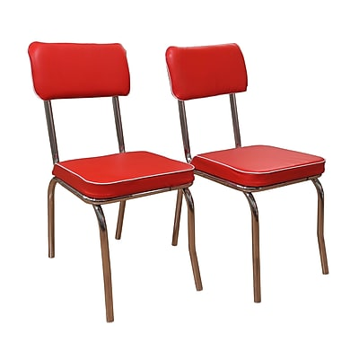 TMS Retro Fabric Dining Chair; Red, 2/Pack